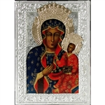 Made in Poland this icon is hand painted and covered with a beautiful cover of zinc plated copper featuring fine bas-relief. No two pictures are exactly alike.