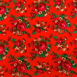 Traditional fabric for Polish costumes. This material features large flowers. To make a typical skirt will require approximately 3 yards of material. Price is per yard. 10% discount for a whole bolt (approx 50 yards). Fabric sales are final and non-return