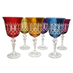 Beautiful set of six crystal tulip shaped wine glasses.  Classic lace cut pattern all done by hand in Poland.  Six different colors in a set.