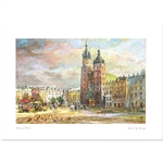 Beautiful print of a watercolor by Polish artist Wanda Maj-Adamczyk.  Looking to the northeast we see the Church Of St. Mary and the monument to the poet Adam Mickiewicz.  Suitable for framing.  Includes an envelope for mailing.  Packaged in clear reseala