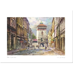 Beautiful print of a watercolor by Polish artist Michal Adamczyk. Looking north on Florian street we see the medieval gate that was part of the wall surrounding the Old Town.  Suitable for framing.  Includes an envelope for mailing.  Packaged in clear