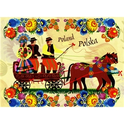 This beautiful note card features a scene of the bride and groom in their wedding carriage.  The scene is framed in colorful paper cut flowers from the Lowicz region of Poland. The mailing envelope features flowers in both the foreground and background.