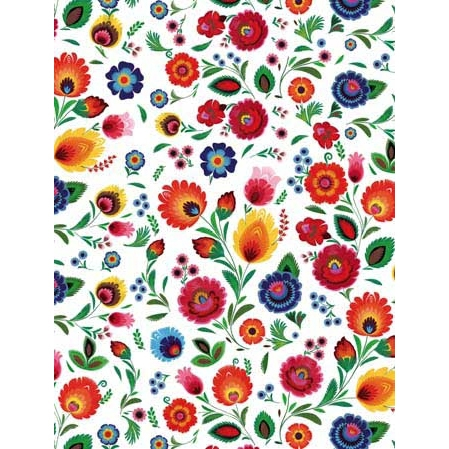 Polish Art Center - Polish Gift Wrapping Paper - Wycinanki Themed