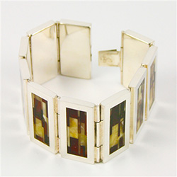Amber and Silver hinged cuff bracelet
