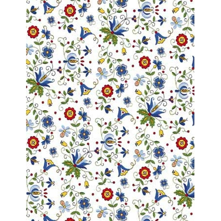 Polish Art Center - Polish Gift Wrapping Paper - White Kaszub