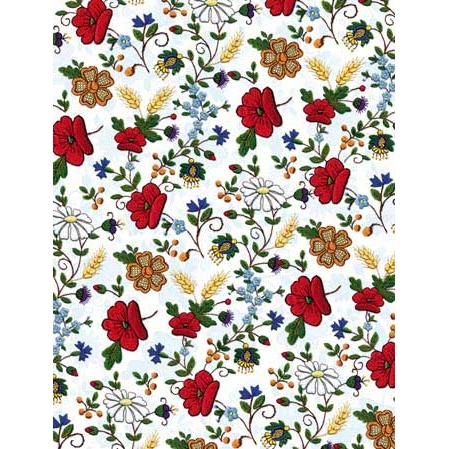 Polish Art Center - Polish Gift Wrapping Paper - Embroidered Flowers