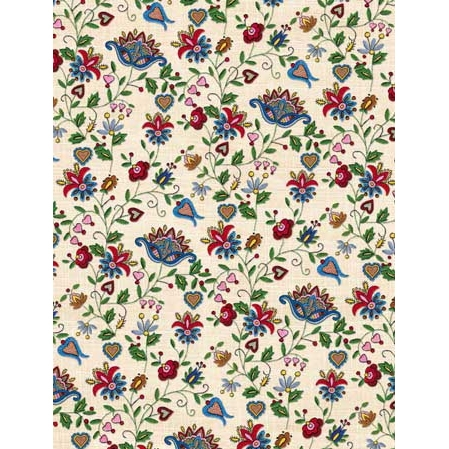 Polish Art Center - Polish Gift Wrapping Paper - Embroidered Flowers 2
