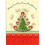 A beautiful glossy Christmas card featuring a Christmas tree glowing with Polish paper cut flowers.
