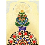 A beautiful glossy Christmas card featuring a Christmas tree above a Polish paper cut.