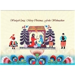 A beautiful glossy Christmas card featuring the Christmas manger above a Polish paper cuts and flanked by Lowicz villagers.