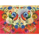 This beautiful note card features a pair roosters, the traditional symbol representing fertility and bounty.  The scene is framed in colorful paper cut flowers from the Lowicz region of Poland. The mailing envelope features flowers in both the foreground