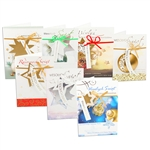 "Beautiful assortment (7 designs) of 10  (4.75"" x 6.75"") Polish Christmas cards with matching envelopes.  Each card is in its own clear plastic sleeve. Greetings on the outside are in English and Polish.  Polish language text inside."