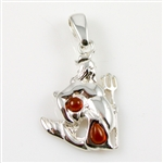 Hand made Cognac Amber Aquarius pendant with Sterling Silver detail.  January 20 - February 18
