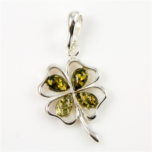 Polish art center green amber four leaf clover pendant earn mozeypictures Image collections