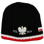 Display your Polish heritage!  Black stretch ribbed-knit skull cap with the word Polska (Poland) below the Polish Eagle. Easy care acrylic fabric.  Once size fits most.  Imported from Poland.