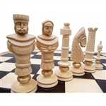 Carved figures and board both made of maple with a flat finish.  Each piece highlighted with a brass ring. Extra large board. Shipping weight is 4.5kg - 9.9lbs.