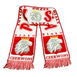 "Display your Polish heritage!  Polska scarves are worn in Poland at all major sporting events.  Features Poland's national symbol the crowned white eagle bordered by the phrase ""Bialo Czerwoni"" - ""White and Red"" and Zwyciezy Orzel Bialy, Zwyciezy Nasza Br"