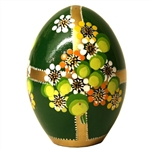 These beautiful goose size wooden eggs have a flat bottom so no stand is required.  The background color is green and the floral designs are different.  No two eggs are alike.