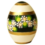 These beautiful goose size wooden eggs have a flat bottom so no stand is required.  The background color is white and the floral designs are different.  No two eggs are alike.