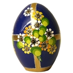 These beautiful goose size wooden eggs have a flat bottom so no stand is required.  The background color is dark blue and the floral designs are different.  No two eggs are alike.