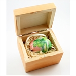 Hand painted duck egg featuring a Polish forest scene and nested inside a hand stained and painted wooden box with a matching forest scene.  The duck egg is blown out  and comes with a ribbon hanger.  Magnetized lid.  Hand made so no two eggs or boxes are