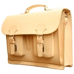 "Beautifully handcrafted briefcase made with the highest quality natural leather and superior craftsmanship.  Features two interior compartments (14"" - 36cm long) separated by a middle zippered section. Business card and cell phone holders in one of the in"