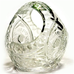 Genuine hand cut lead crystal basket with the traditional starburst cut design.  These come from the town of Zawiercie in southeastern Poland famous for their glass and crystal works.  These crystal baskets are uniquely Polish with intricate designs cut i