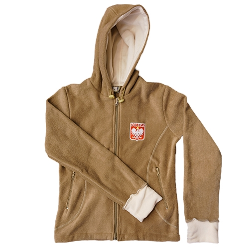 Polish Art Center - Polish Hooded Woman's Fleece Jacket - Polska Tan