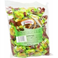 Chocolate cocoa filling on the inside and a mild peppermint shell on the outside.  These candies  are tasty and refreshing.  About 38 candies per bag.