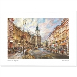 Beautiful print of a watercolor by Polish artist Michał Adamczyk. Looking north on ul. Nowy Swiat, Warsaw's historic and most fashionable avenue.  Suitable for framing.  Includes an envelope for mailing.  Packaged in clear resealable polypropylene.