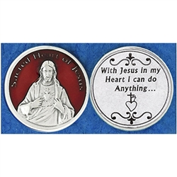 Sacred Heart of Jesus Red Enamel Pocket Token (Coin). Great for your pocket or coin purse.
