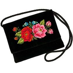 "Hand embroidered shoulder purse made from velvet.  Fully lined.  Extra long strap (extends to 30""). Snap closure.  Made in Lowicz, Poland.  Flower colors and design vary slightly from purse to purse."