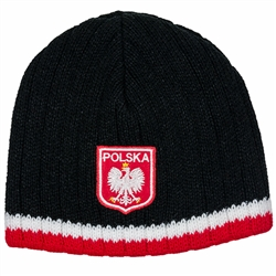 Display your Polish heritage!  Black stretch ribbed-knit skull cap with the word Polska (Poland) above the Polish Eagle. Easy care acrylic fabric.  Once size fits all.  Imported from Poland.