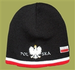 Display your Polish heritage!  Black stretch ribbed-knit skull cap with the word Polska (Poland) below the Polish Eagle. Easy care acrylic fabric.  Once size fits all.  Imported from Poland.