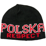 Display your Polish heritage! Navy blue stretch ribbed-knit skull cap with the word Polska (Poland) and Respect on the front. Easy care acrylic fabric. Once size fits most. Imported from Poland.