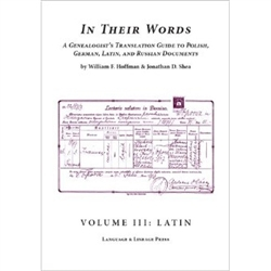 This publication includes: over 100 Latin-language documents and extracts from American and European sources, analyzed and translated. They include extracts from birth, death, and marriage records of various formats; diplomas; parish histories
