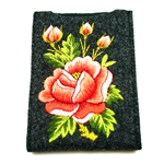 "Soft dark grey felt sewn case with hand Lowicz styl embroidered flowers on one side. Beautiful and functional. . Designed to fit standard cell phones. Size - 3.25"" x 5.25"" - 8cm x 13cm - Interior size 3"" x 4.75"" - 7.5cm x 12cm. The IPhone measuring 3"" x 4"