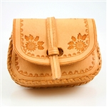 "Darling little hand-crafted leather purse (pouch), with 26"" adjustable length shoulder strap, from Zakopane Poland."