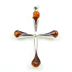 "Sterling Silver Cala Lily Amber Cross Pendant.  Size approx 1.75"" x 1""."