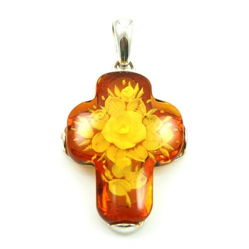 Polish art center floral bouquet amber cross pendant alternative views mozeypictures Gallery