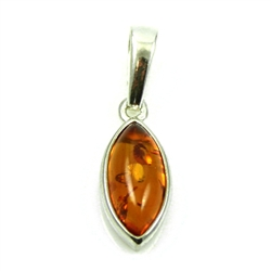 "Baltic Amber in a sterling silver frame. Size .25"" x 1"" - .75cm x 2.5cm."