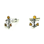 Nicely detailed sterling silver anchor and rope cufflink studded with three pieces of amber.