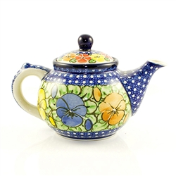 "Beautiful teapot with an 10oz capacity.  Pattern designed by master artist Maria Starzyk . The artist has been connected with Handicraft Cooperative ""Artistic Ceramics and Pottery"" since 1995, whereas since 1997 she has been a pattern designer.  Unikat pa"