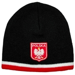 Display your Polish heritage! Black stretch fine knit skull cap with the word Polska (Poland) above the Polish Eagle Crest. Easy care acrylic fabric. Once size fits most. Imported from Poland.