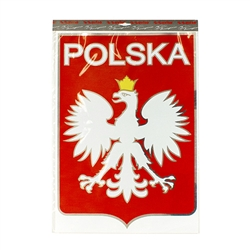 "Display your Polish heritage on your truck, van, RV, wall or bulletin board. The red, white and silver sticker measures 13.5"" x 18.75"" - 34cm x 48cm. The banner is vinyl with a peel off backing. Weatherproof and permanent."