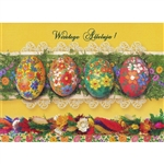 Beautiful glossy Easter card featuring four decorated eggs above a layer of Polish Easter palms.