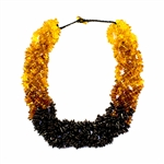 "Composed of five strands of woven honey and cherry amber beads.  22"" long necklace weighing 108g. A gorgeous necklace for amber lovers everywhere."