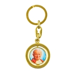 Sturdy metal key ring featuring the image of St. John Paull II.