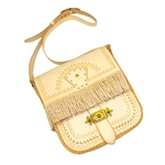 Beautiful hand-crafted leather purse with tassles, Highland folk design and brass fittings.