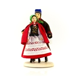 Our lovely couple are from south central Poland in the Swietokrzyskie Mountains not far from Kielce. These dolls are perfect, clothed in authentic regional folk costumes, as certified by the Polish Ministry of Culture. These traditional Polish dolls are c